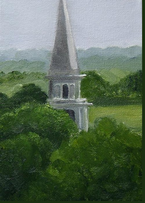 Steeple Greeting Card featuring the painting Steeple by Toni Berry