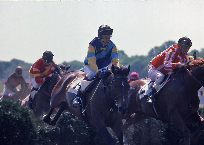 Steeplechase Greeting Card featuring the photograph Steeplechase - 3 by Randy Muir