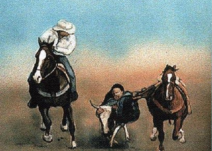 Horse Greeting Card featuring the painting Steer Wrestling by Charlotte Yealey
