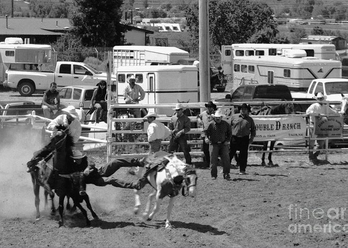 Rodeo Greeting Card featuring the photograph Steer Wrestling by Susan Chandler