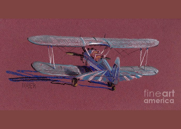 Steerman Biplane Greeting Card featuring the drawing Steerman Biplane by Donald Maier