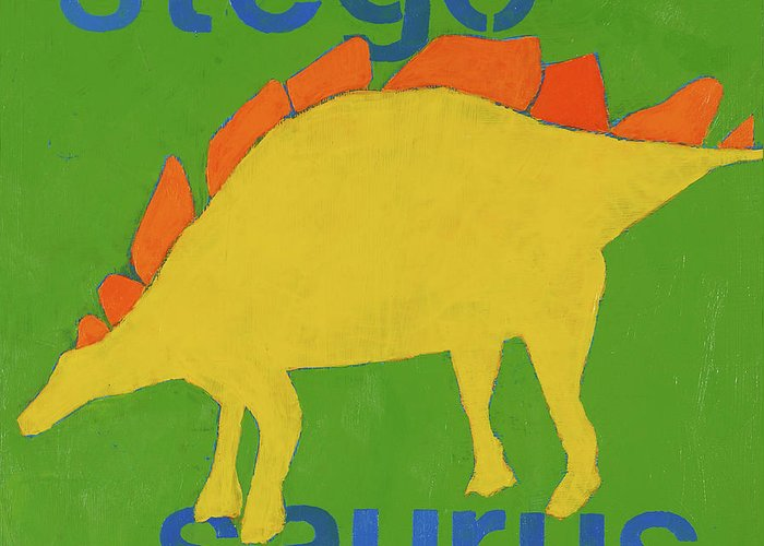 Dinosaur Painting Greeting Card featuring the painting Stegosaurus by Laurie Breen