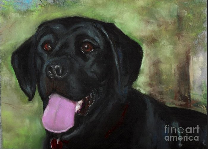 Black Lab Greeting Card featuring the painting Stella Luna by Frances Marino