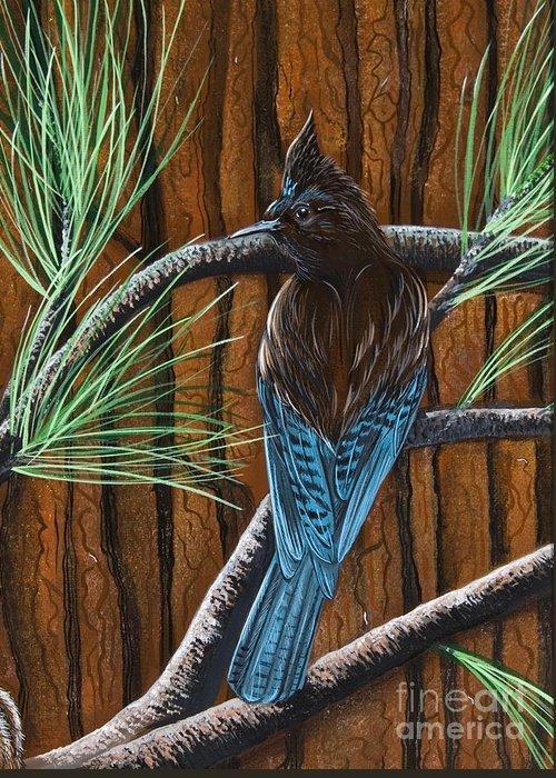 Bird Greeting Card featuring the painting Stellar Jay by Jennifer Lake