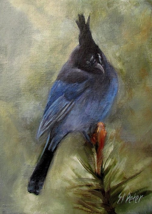 Mountain Greeting Card featuring the painting Stellar Of A Bird by Mary St Peter