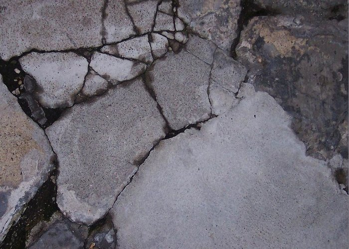 Bstract City Sidewalk Urban Chicago Industrial Greeting Card featuring the photograph Step On A Crack 3 by Anna Villarreal Garbis