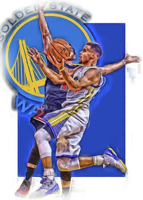 Stephen Curry Greeting Card featuring the mixed media Stephen Curry Golden State Warriors Oil Art by Joe Hamilton