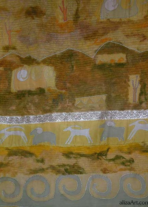 Landscape Greeting Card featuring the tapestry - textile Steppe by Aliza Souleyeva-Alexander