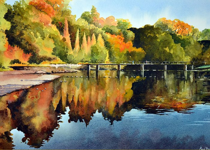 Bolton Abbey Greeting Card featuring the painting Stepping Stones Bolton Abbey by Paul Dene Marlor