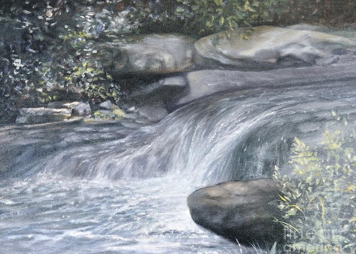 Oil Paintings Of Water Falls Greeting Card featuring the painting Stepping Stones by Penny Neimiller