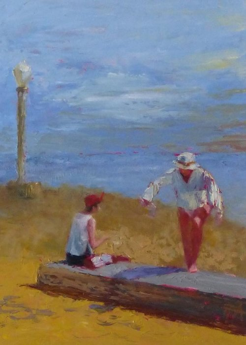 Sea Scape Greeting Card featuring the painting Stepping Up by Irena Jablonski
