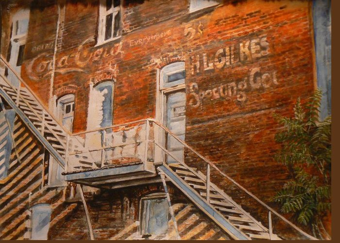 Urban Greeting Card featuring the painting Steps In Time by Thomas Akers