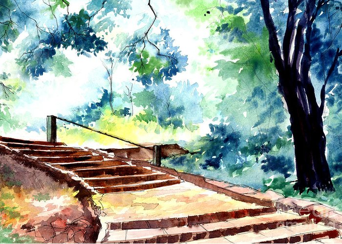 Landscape Greeting Card featuring the painting Steps To Eternity by Anil Nene