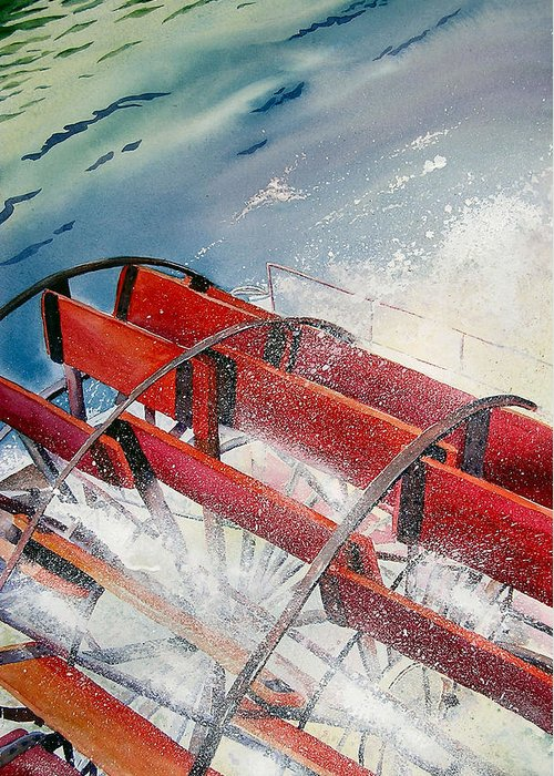 Paddlewheeler Greeting Card featuring the painting Sternwheeler Splash by Karen Stark