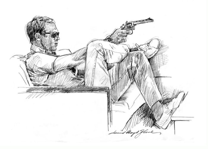 Steve Mcqueen Greeting Card featuring the drawing Steve Mcqueen Colt 45 by David Lloyd Glover