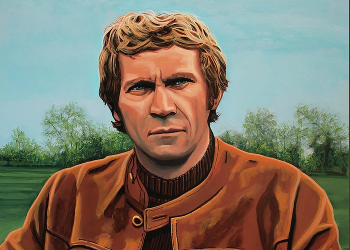 Steve Mcqueen Greeting Card featuring the painting Steve Mcqueen Painting by Paul Meijering