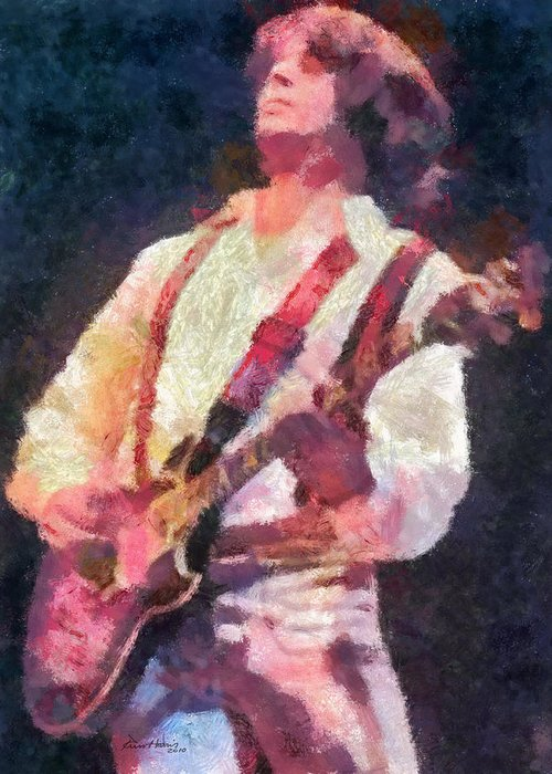 Guitar Greeting Card featuring the painting Steve Miller 1978 by Russ Harris