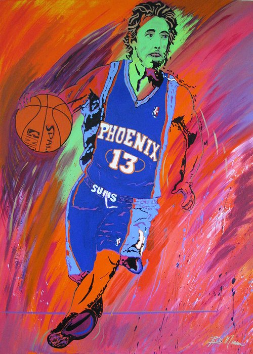 Steve Nash Paintings Greeting Card featuring the painting Steve Nash-vision Of Scoring by Bill Manson
