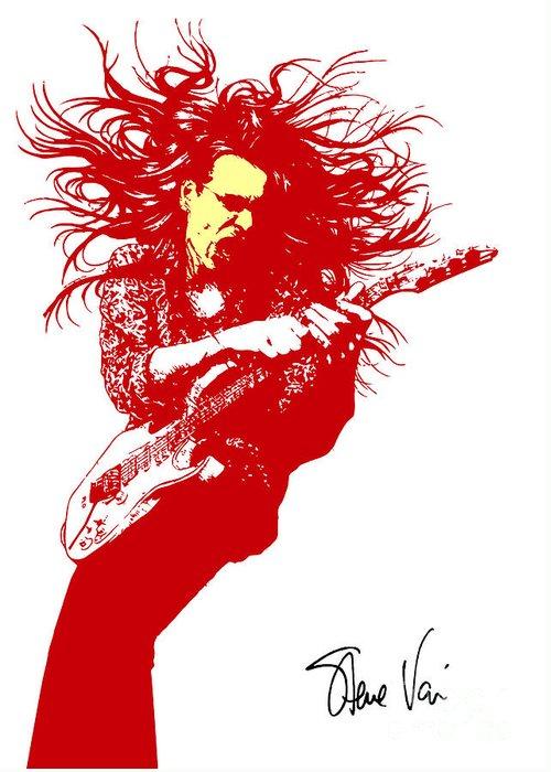 Steve Vai Greeting Card featuring the digital art Steve Vai No.01 by Caio Caldas