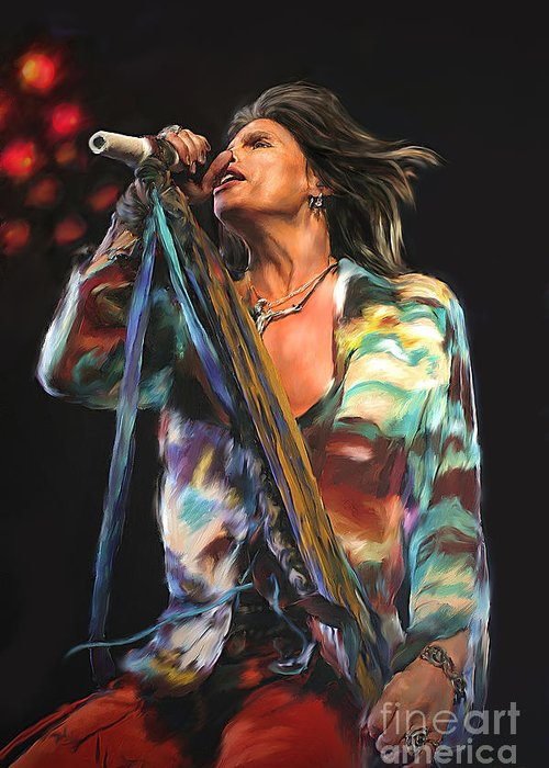 Music Greeting Card featuring the mixed media Steven Tyler 01 by Dawn Serkin