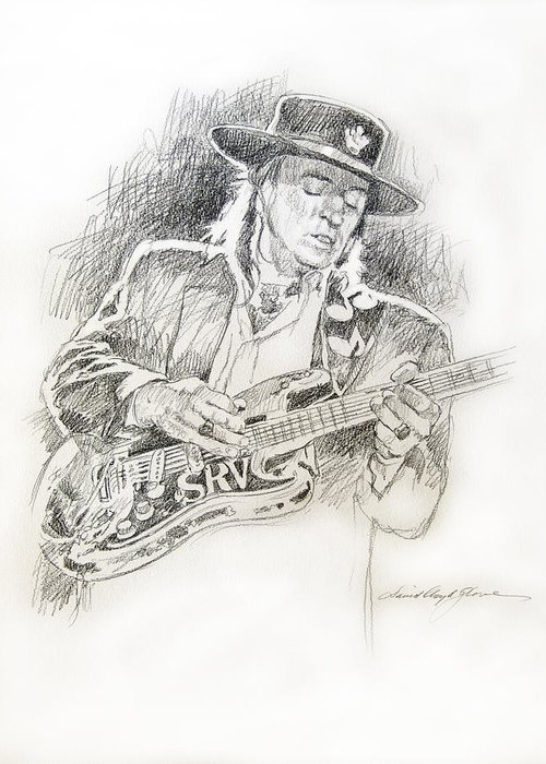 Stevie Ray Vaughan Greeting Card featuring the drawing Stevie Ray Vaughan - Texas Twister by David Lloyd Glover