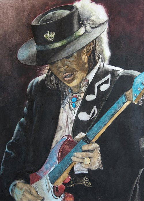 Stevie Ray Vaughan Greeting Card featuring the painting Stevie Ray Vaughan by Lance Gebhardt