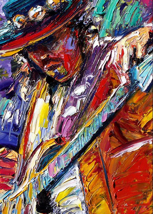 Rock Greeting Card featuring the painting Stevie Ray Vaughan Number One by Debra Hurd