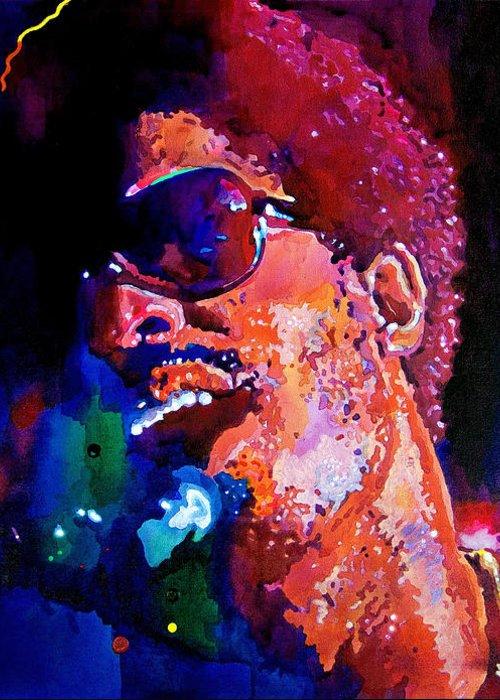 Stevie Wonder Greeting Card featuring the painting Stevie Wonder by David Lloyd Glover