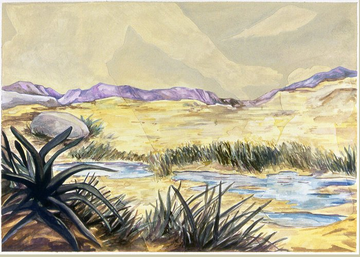 Karl Greeting Card featuring the painting Sticker Landscape 3 Desert by Karl Frey