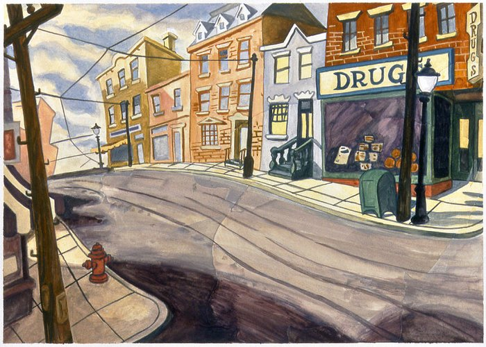 Karl Greeting Card featuring the painting Sticker Landscape 4 Mainstreet by Karl Frey