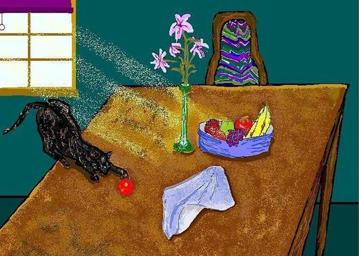Cats Greeting Card featuring the digital art Still Life by Carole Boyd