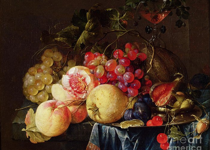 Still Greeting Card featuring the painting Still Life by Cornelis de Heem