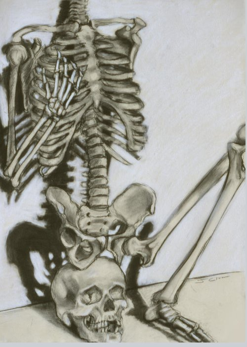 Skeleton Greeting Card featuring the drawing Still Life by John Clum