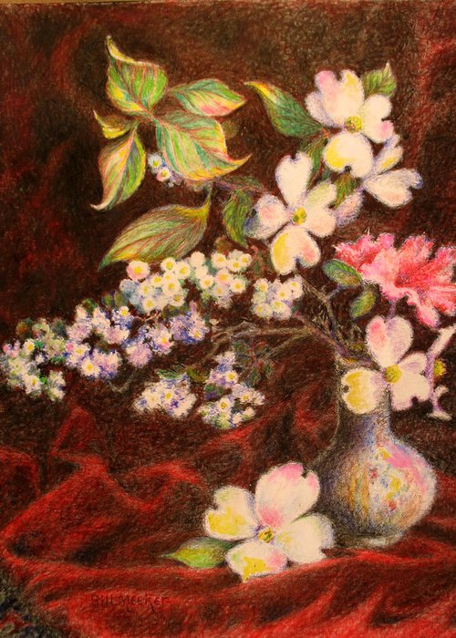 Still Life Greeting Card featuring the painting Still Life Of Stolen Flowers by Bill Meeker