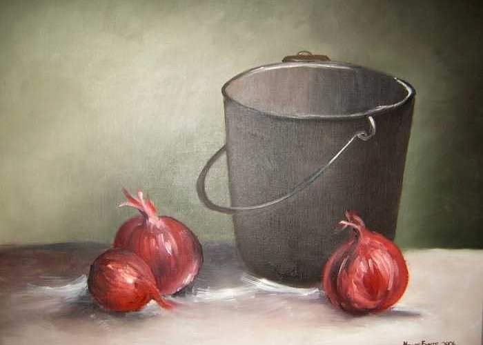 Bucket Greeting Card featuring the painting Still Life Onions by Nellie Visser