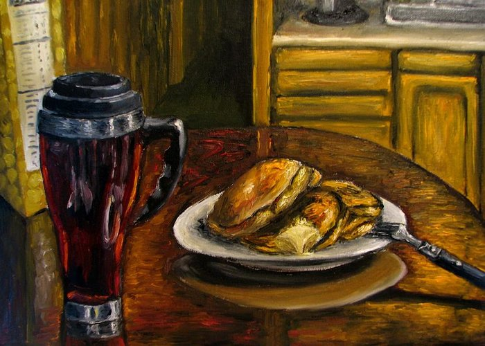 Still Life Painting Greeting Card featuring the painting Still Life Pancakes And Coffee Painting by Natalja Picugina