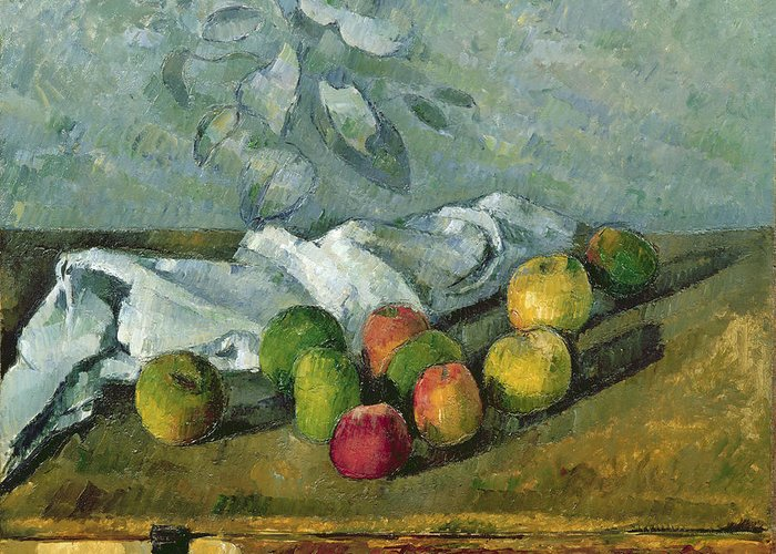 Still Greeting Card featuring the painting Still Life by Paul Cezanne