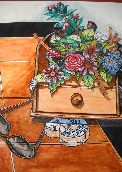 Still Life Flowers Greeting Card featuring the painting Still Life by Willie McNeal