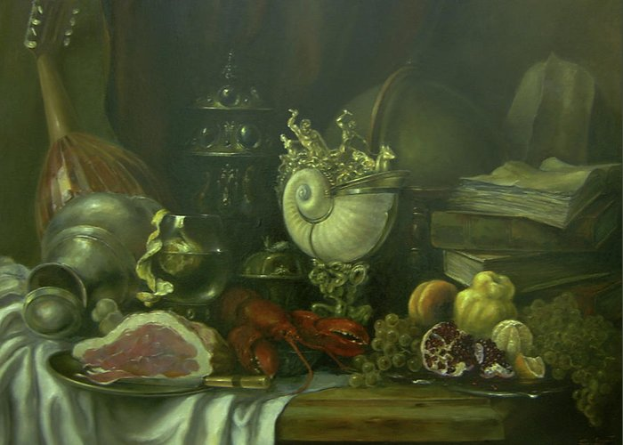 Armenian Greeting Card featuring the painting Still-life With A Lobster by Tigran Ghulyan