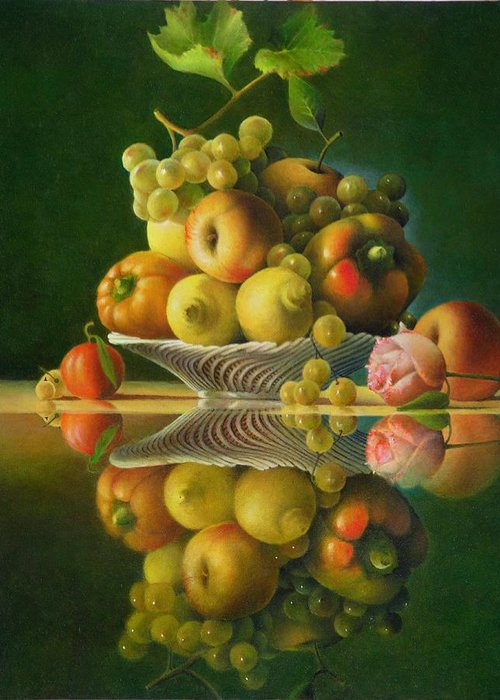 Still Life Greeting Card featuring the painting Still Life with a Rose by Giuseppe Mariotti