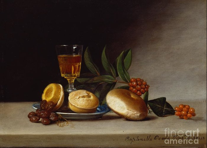 Still Greeting Card featuring the painting Still Life With A Wine Glass by Raphaelle Peale