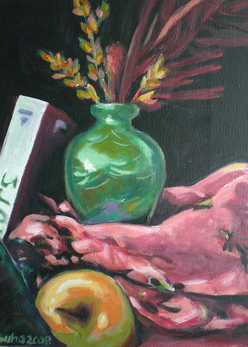 Apple Greeting Card featuring the painting Still Life With Apple Book And Vase by Aleksandra Buha