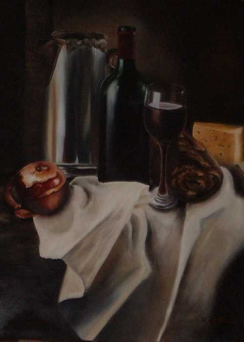 Wine Greeting Card featuring the painting Still Life With Apple by Nellie Visser