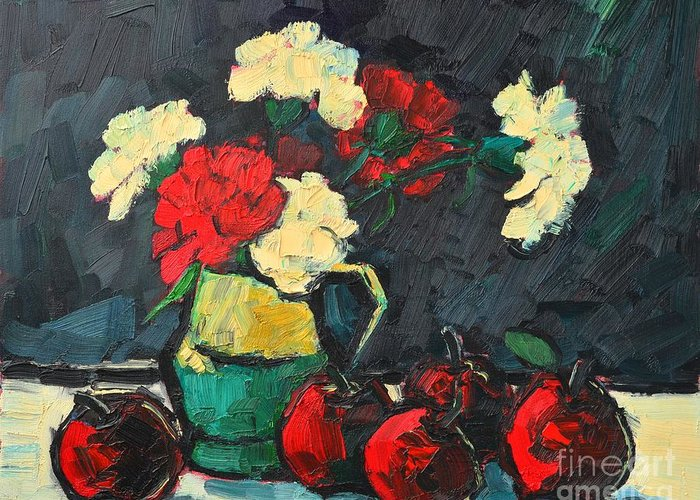 Floral Greeting Card featuring the painting Still Life With Apples And Carnations by Ana Maria Edulescu