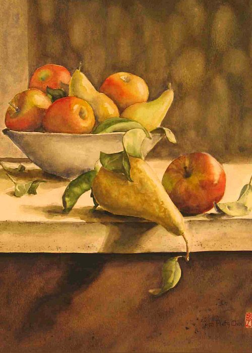 Still-life Greeting Card featuring the painting Still-life with Apples and Pears by Piety Choi