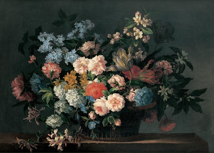 Flower Greeting Card featuring the painting Still Life With Basket Of Flowers by Jean-Baptiste Monnoyer