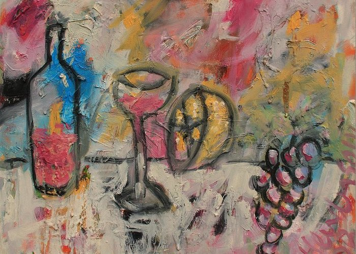 Stil Life Greeting Card featuring the painting Still Life with Bottle by Michael Henderson