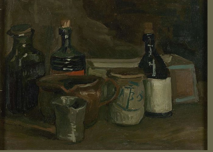 Art Greeting Card featuring the painting Still Life With Bottles And Earthenware Nuenen, November 1884 - April 1885 Vincent Van Gogh 1853 by Artistic Panda