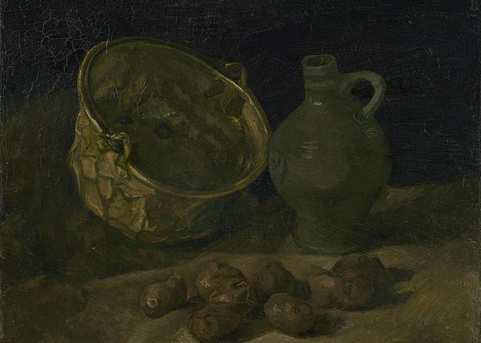 Art Greeting Card featuring the painting Still Life With Brass Cauldron And Jug Nuenen, September 1885 Vincent Van Gogh 1853 1890 by Artistic Panda
