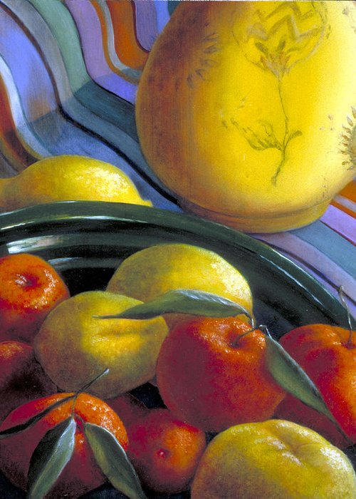 Oil Painting Greeting Card featuring the painting Still Life With Citrus by Nancy Ethiel